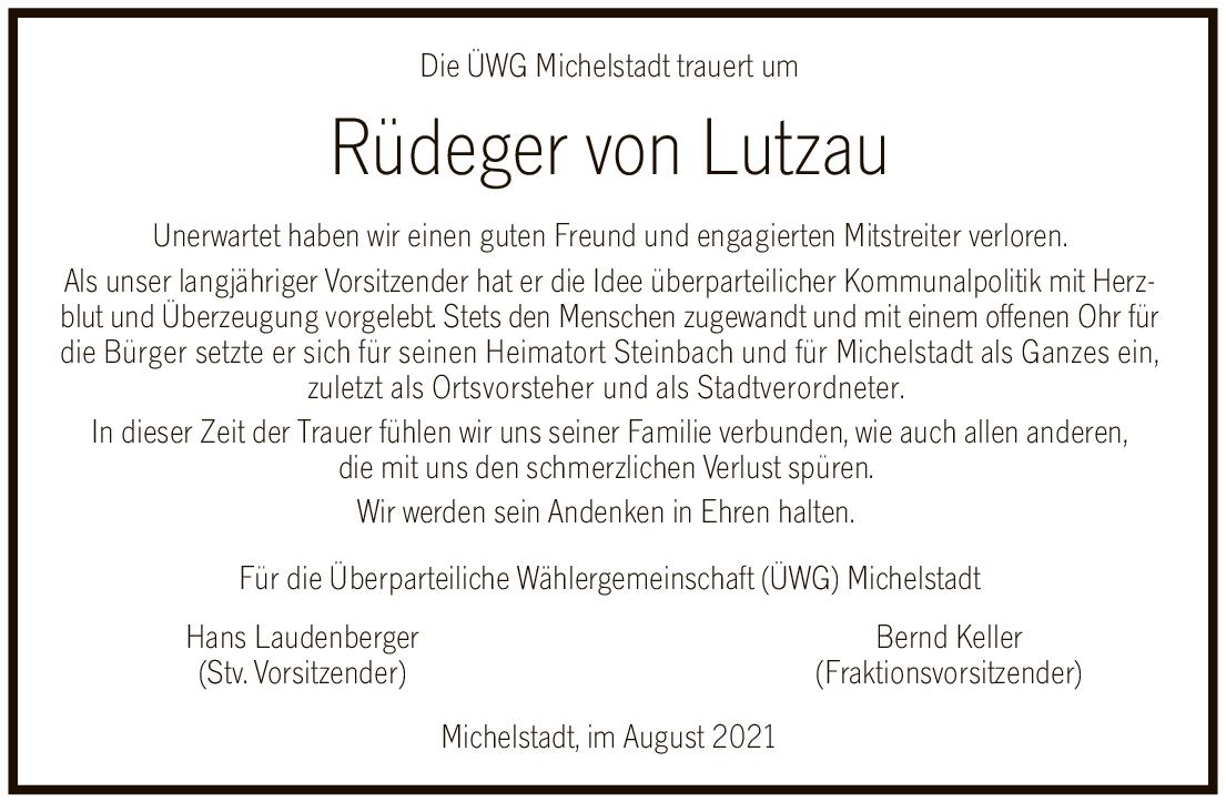 Die ÜWG Michelstadt trauert um Rüdeger von Lutzau